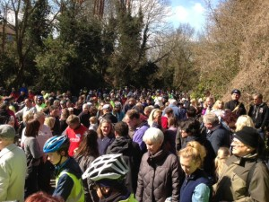 Masses of people at the opening of Two Tunnels Greenway