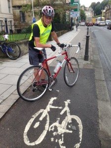 Roger on London Road at the cycleway where it is planned to have seven car parking spaces