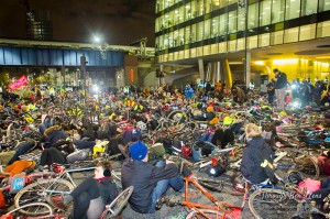 London Cyclists protesting about unsafe cycling.