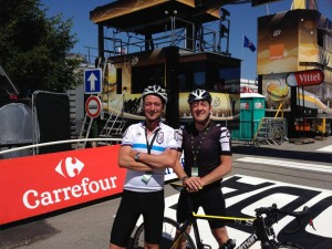 Chris Boardman and Ned Boulting at the Tour 2014