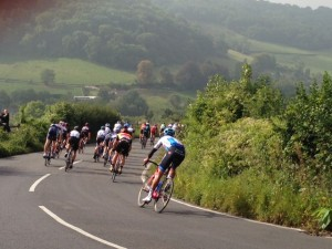Back of Tour of Britain Peloton on Brassknocker Hill