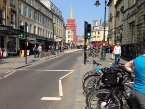 Cycle stands in High Street.  Full up as usual