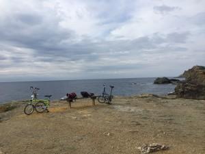 Bromptons overlooking the Mediterranean